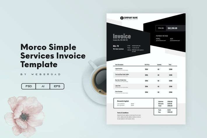 Thumbnail for Morco Simple Services Invoice Template   Websroad