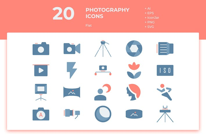 Thumbnail for 20 Photography Icons (Flat)