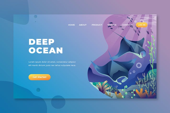 Thumbnail for Deep Ocean - PSD and AI Vector Landing Page