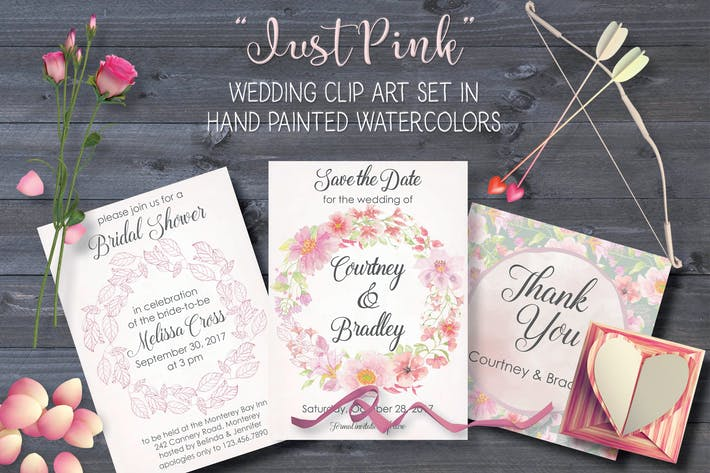 "Thumbnail for ""Just Pink"" Wedding Clip Art Set"