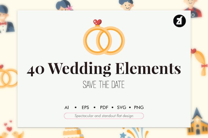 Thumbnail for 40 Wedding elements in flat design
