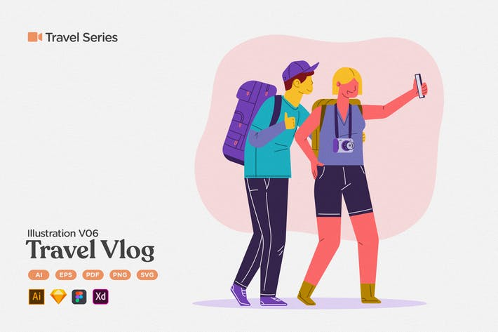 Thumbnail for Travel Illustration V06 Travel Vlogger