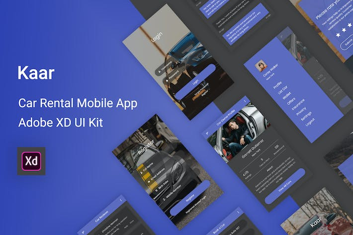Thumbnail for Kaar - Car Rental Adobe XD UI Kit