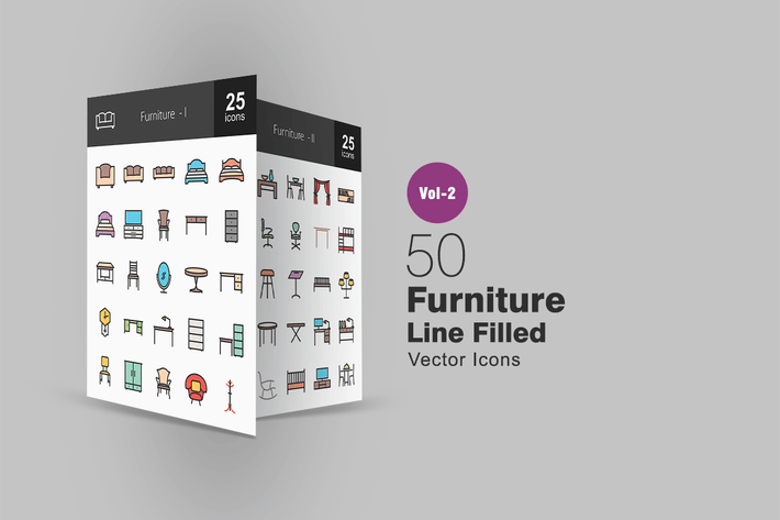 Thumbnail for 50 Furniture Line Filled Icons