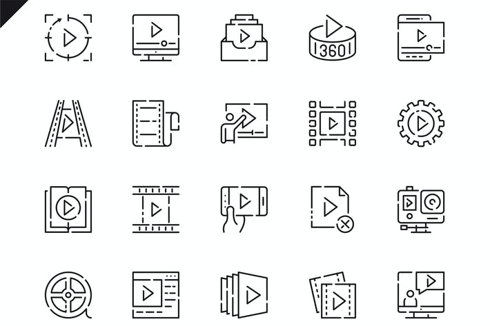 Thumbnail for Simple Set Video Content Line Icons