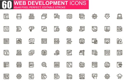 Web Development Thin Line Icons Pack