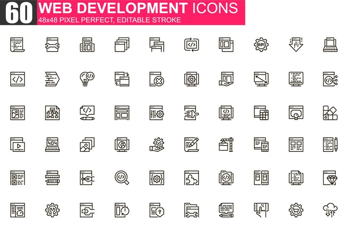 Web Development Thin Line Icons Pack