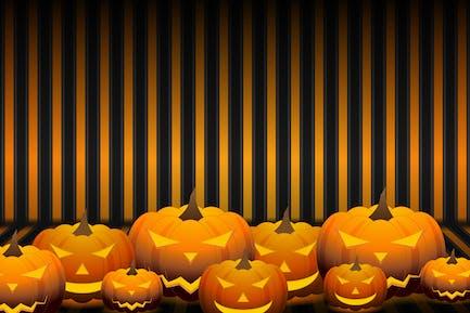 Orange Halloween pumpkins background