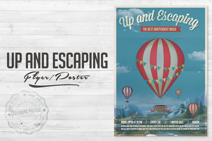 """Thumbnail for Flyer Poster """"Up and Escaping"""""""
