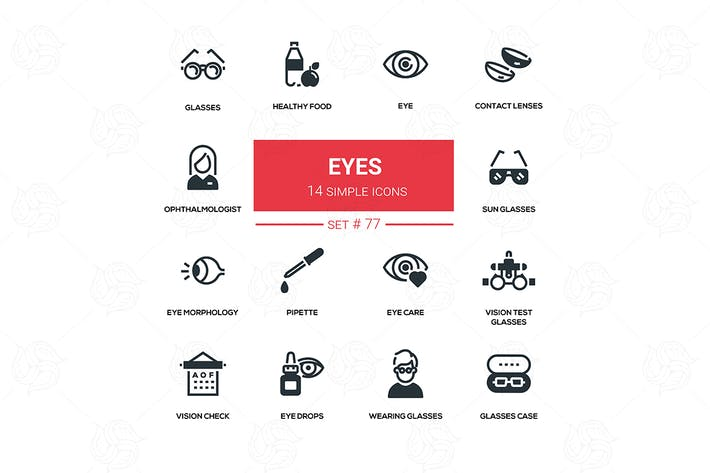 Thumbnail for Eyes - line design silhouette icons set