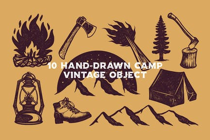 Hand-Drawn Camp Vintage Object