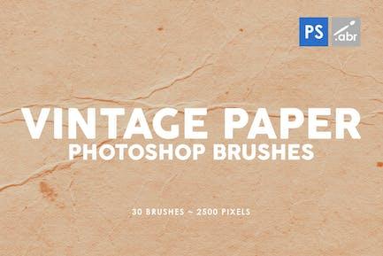30 Pinceles de Papel vintage para sellos de Photoshop