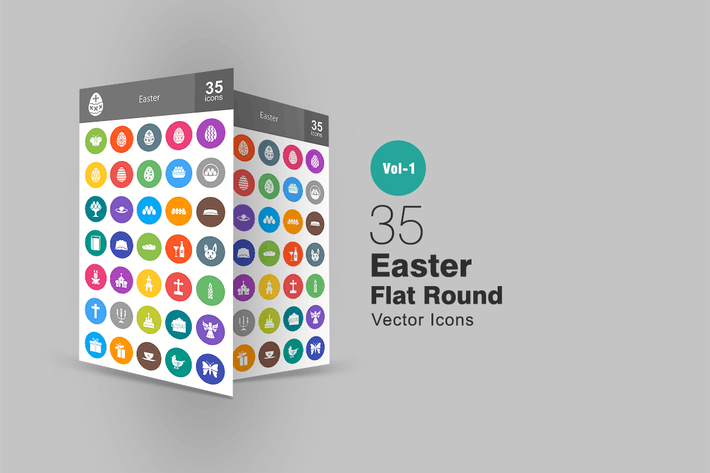 Thumbnail for 35 Easter Flat Round Icons