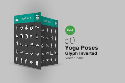 50 Yoga-Posen Glyphe Inverted Icons
