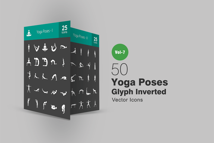 Thumbnail for 50 Yoga Poses Glyph Inverted Icons
