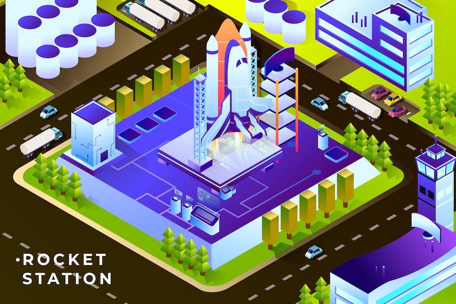 Ракетная станция - изометрическая Вектор иллюстрация