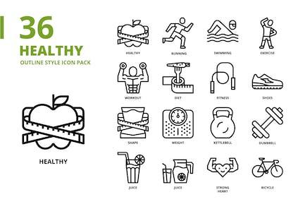 Conjunto de iconos de estilo de contorno saludable