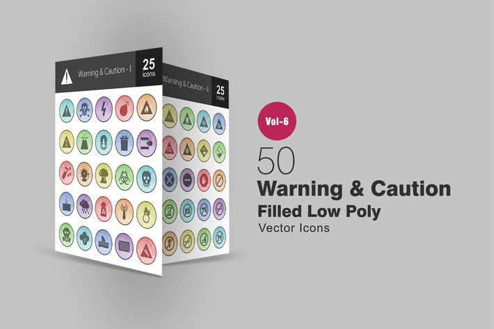 Thumbnail for 50 Warning & Caution Filled Low Poly Icons