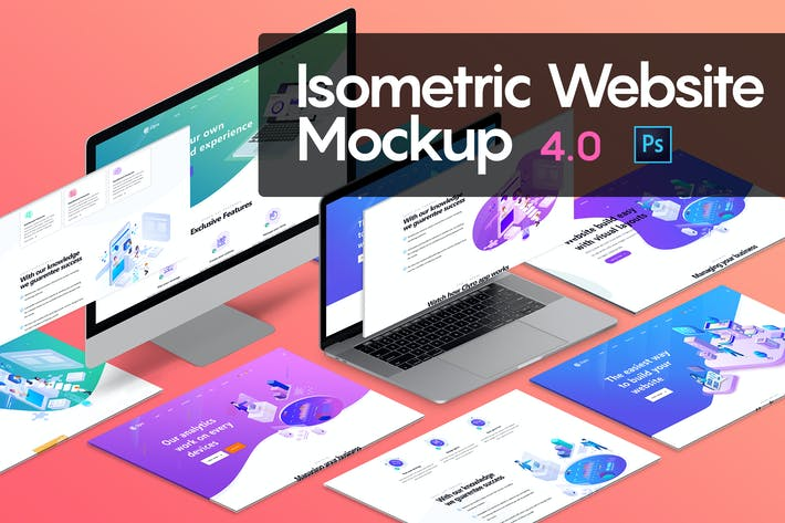 Thumbnail for Isometric Website Mockup 4.0