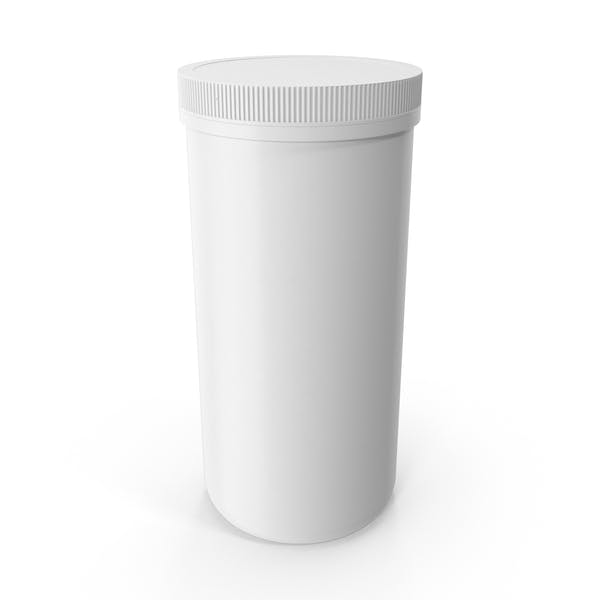Plastic Jar Wide Mouth Straight Sided 100oz Closed White