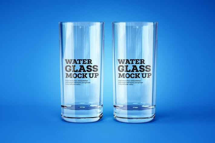 Thumbnail for Water and Cocktail Glass Mockup