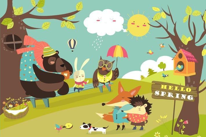Cover Image For Cute animals walking in spring forest. Vector
