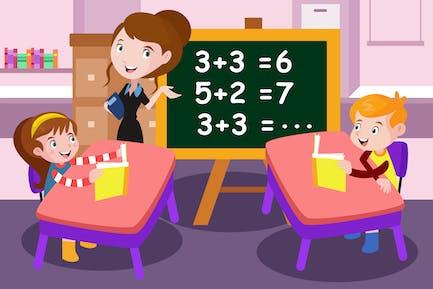 Math Lessons For Kids - Vector Illustration
