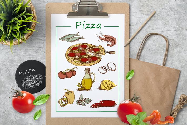 Thumbnail for Vintage Hand Drawn Pizza