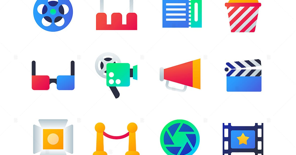 Download Cinema - set of flat design style icons by BoykoPictures