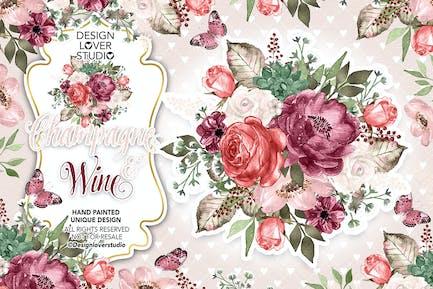 Champagner und Wein Design