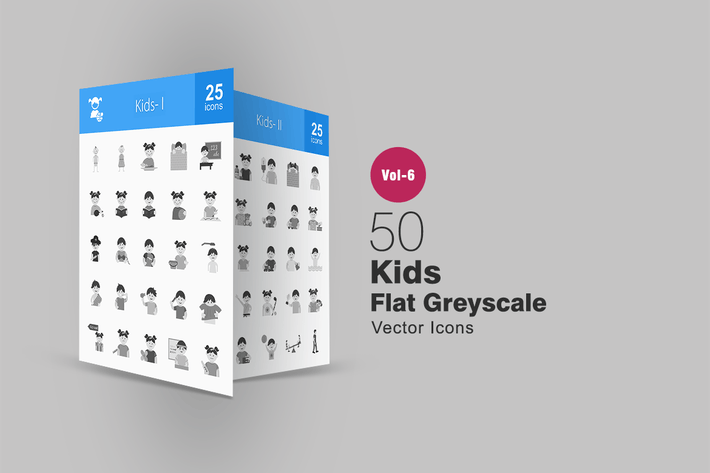 Thumbnail for 50 Kids Flat Greyscale Icons