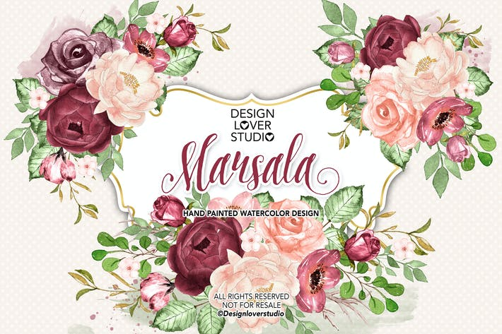 Thumbnail for Watercolor MARSALA DREAM design
