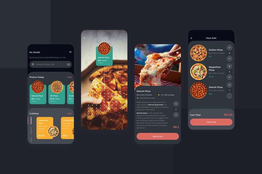 Order Food Dark Mode Mobile UI - FD