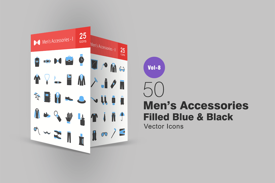 50 Men's Accessories Flat Multicolor Icons