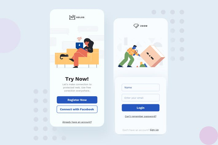 Thumbnail for Sign Up Mobile Interface Illustrations