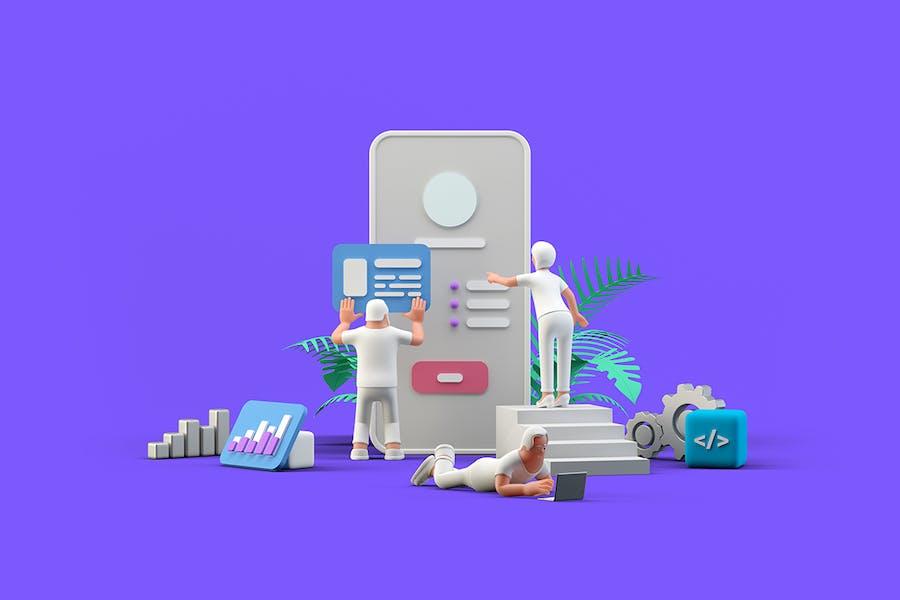 Ui Ux Design Team arbeitet mit Mobile App