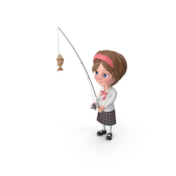 Cartoon Girl Meghan Fishing