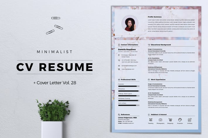 Thumbnail for Minimalist CV Resume Vol. 28