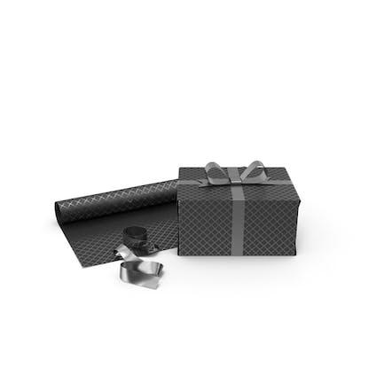 Schwarz-silberne Muster-Geschenkbox mit Papierrolle und Silberfolien-Band