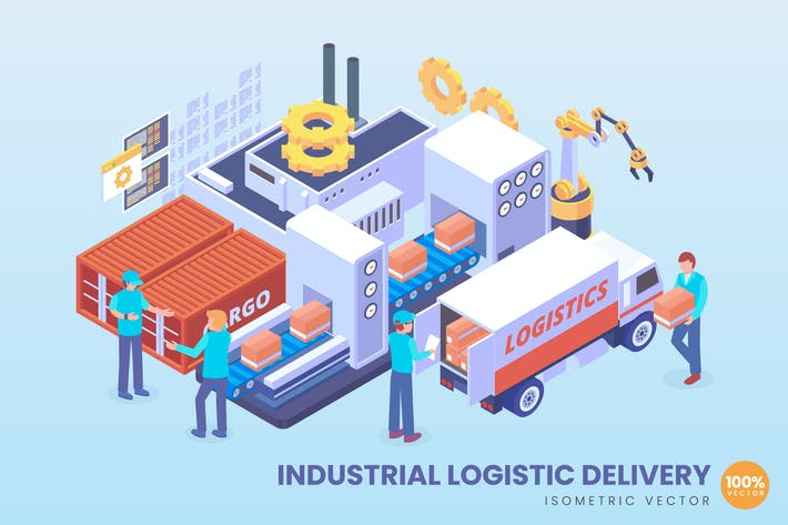 Thumbnail for Isometric Industrial Logistic Delivery Concept