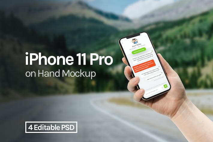 Thumbnail for iPhone 11 Pro on Hand Mockup