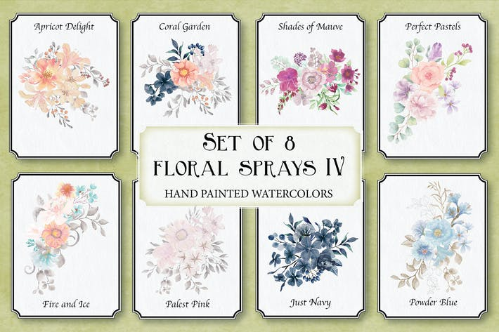 Thumbnail for Set of 8 Watercolor Clip Art Sprays IV