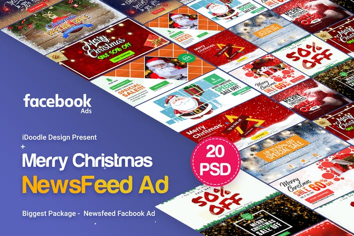 Thumbnail for Merry Christmas NewsFeed Banners Ad - 20PSD
