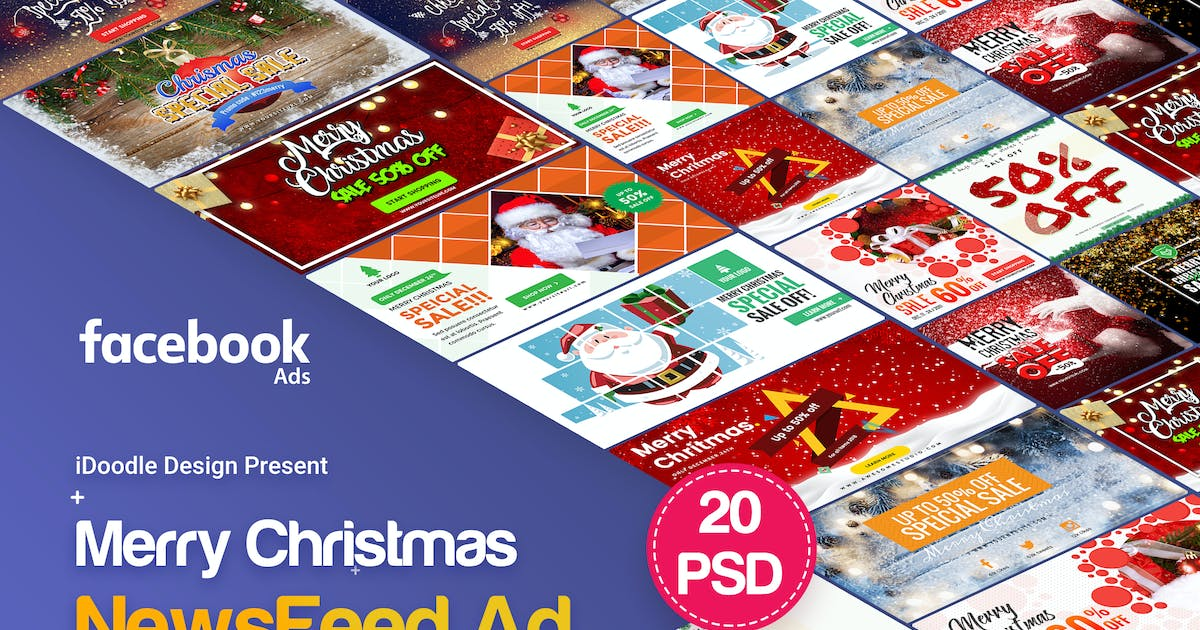Download Merry Christmas NewsFeed Banners Ad - 20PSD by iDoodle