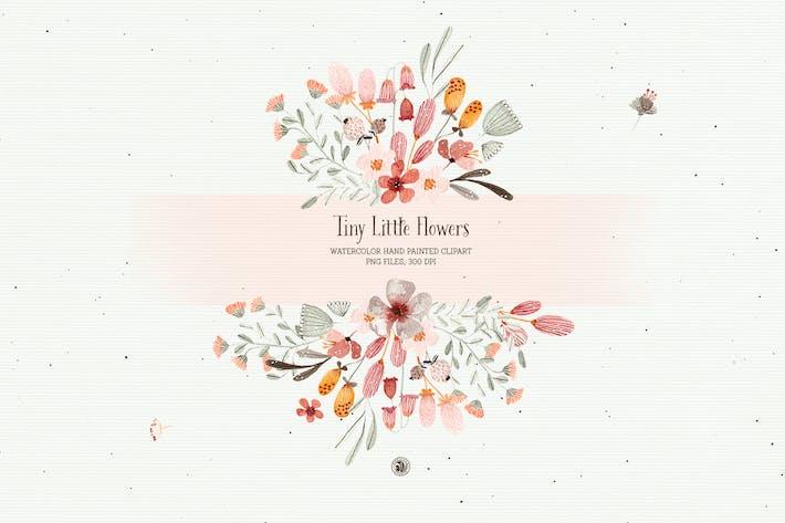 Conjunto de flores pequeñas acuarela