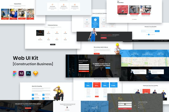 Thumbnail for Web UI Kit Construction Business