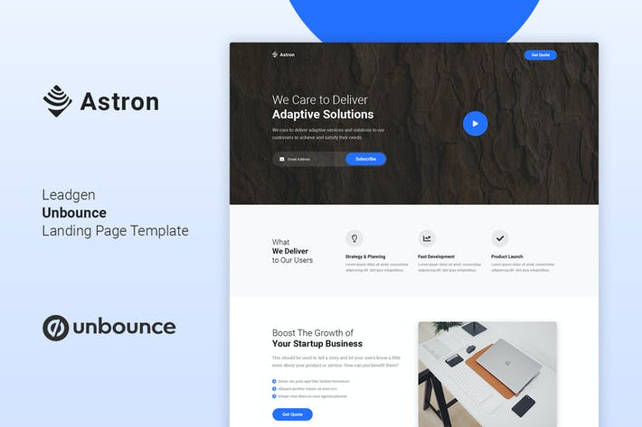 Thumbnail for Astron - Leadgen Unbounce Landing Page Template