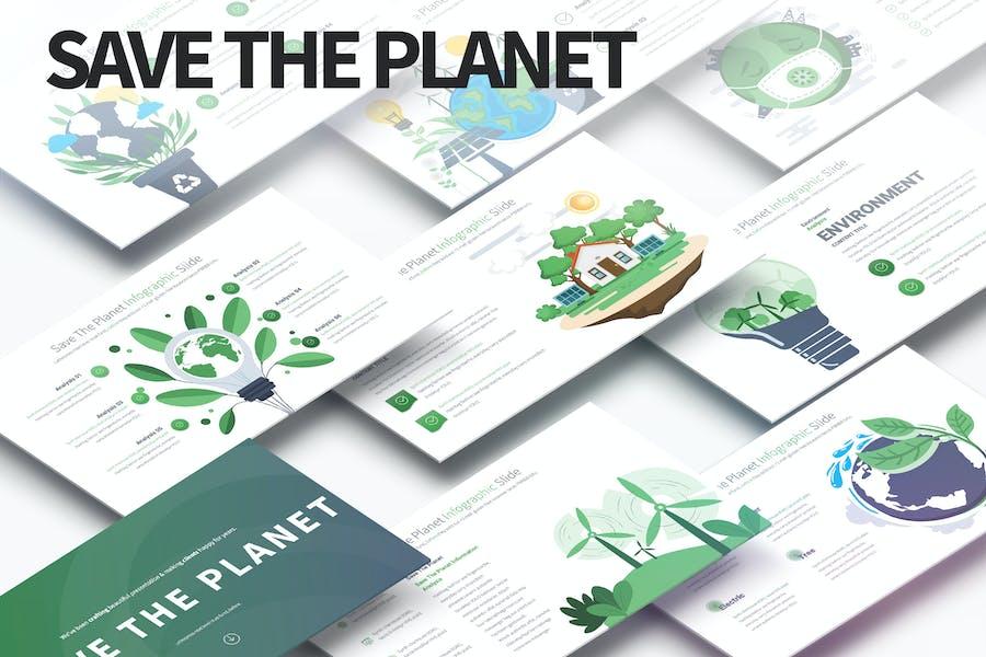 Guardar el planeta - Presentaciones de Infografía de PowerPoint