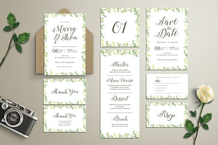 Thumbnail for Watercolor Leaves Wedding Invitation Suite