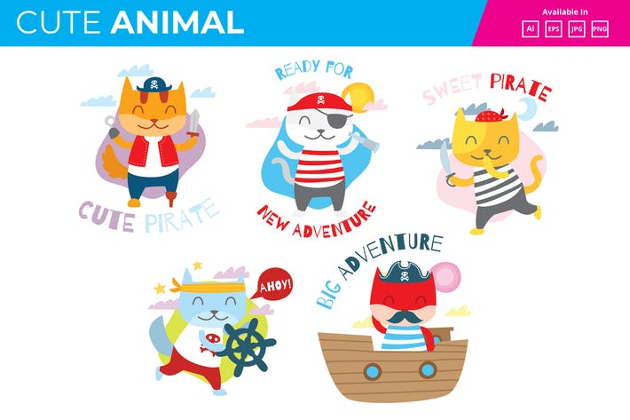 Thumbnail for Cute Pirate Cat collection JPG PNG
